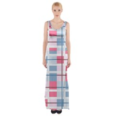 Fabric Textile Plaid Maxi Thigh Split Dress