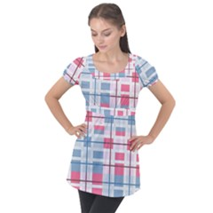 Fabric Textile Plaid Puff Sleeve Tunic Top
