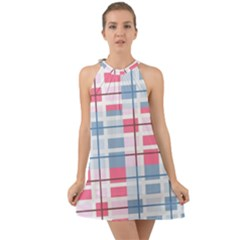 Fabric Textile Plaid Halter Tie Back Chiffon Dress by HermanTelo