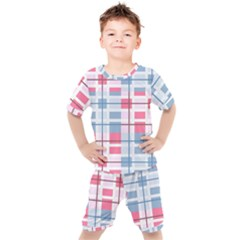 Fabric Textile Plaid Kids  Tee And Shorts Set