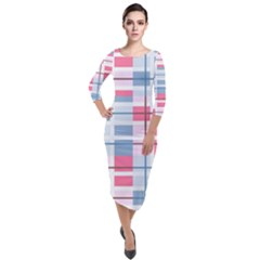 Fabric Textile Plaid Quarter Sleeve Midi Velour Bodycon Dress