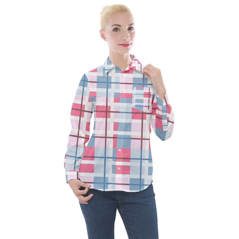 Fabric Textile Plaid Women s Long Sleeve Pocket Shirt by HermanTelo