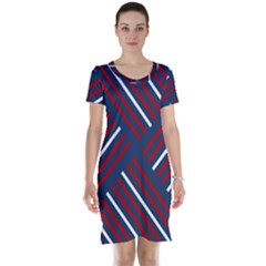 Geometric Background Stripes Short Sleeve Nightdress