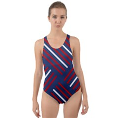 Geometric Background Stripes Cut-out Back One Piece Swimsuit