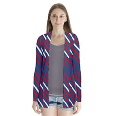 Geometric Background Stripes Drape Collar Cardigan