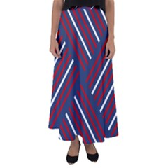 Geometric Background Stripes Flared Maxi Skirt