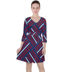 Geometric Background Stripes Ruffle Dress by HermanTelo