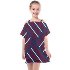 Geometric Background Stripes Kids  One Piece Chiffon Dress