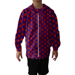 Blue Pattern Texture Kids  Hooded Windbreaker
