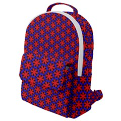 Blue Pattern Texture Flap Pocket Backpack (small)