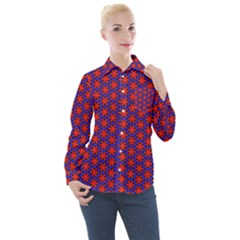 Blue Pattern Texture Women s Long Sleeve Pocket Shirt