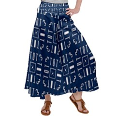 Background Blue Satin Palazzo Pants by HermanTelo