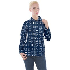 Background Blue Women s Long Sleeve Pocket Shirt