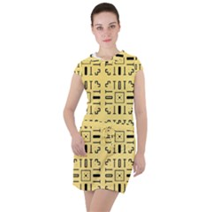 Background Yellow Drawstring Hooded Dress