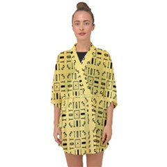 Background Yellow Half Sleeve Chiffon Kimono by HermanTelo