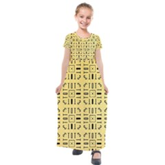 Background Yellow Kids  Short Sleeve Maxi Dress by HermanTelo