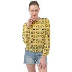 Background Yellow Banded Bottom Chiffon Top by HermanTelo