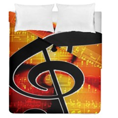 Clef Music Lines Notenblatt Duvet Cover Double Side (queen Size) by HermanTelo