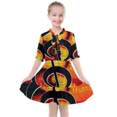 Clef Music Lines Notenblatt Kids  All Frills Chiffon Dress by HermanTelo