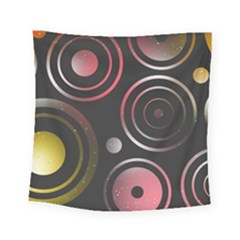 Circles Yellow Space Square Tapestry (small)