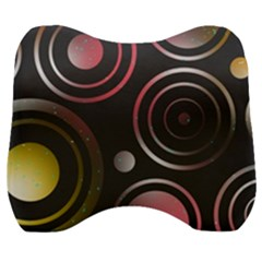 Circles Yellow Space Velour Head Support Cushion