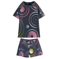 Circles Yellow Space Kids  Swim Tee And Shorts Set