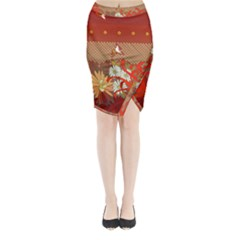 Abstract Flower Midi Wrap Pencil Skirt