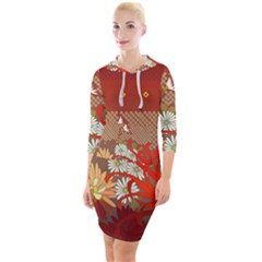 Abstract Flower Quarter Sleeve Hood Bodycon Dress