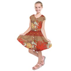 Abstract Flower Kids  Short Sleeve Dress by HermanTelo