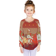 Abstract Flower Kids  Long Sleeve Tee