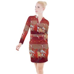 Abstract Flower Button Long Sleeve Dress