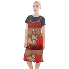 Abstract Flower Camis Fishtail Dress