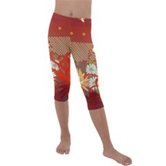 Abstract Flower Kids  Lightweight Velour Capri Leggings  by HermanTelo