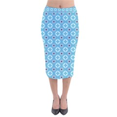 Blue Pattern Velvet Midi Pencil Skirt