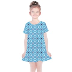 Blue Pattern Kids  Simple Cotton Dress by HermanTelo