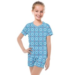 Blue Pattern Kids  Mesh Tee And Shorts Set