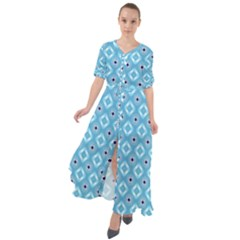 Blue Pattern Waist Tie Boho Maxi Dress