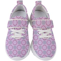 Circumference Point Pink Kids  Velcro Strap Shoes by HermanTelo
