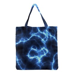 Electricity Blue Brightness Grocery Tote Bag by HermanTelo