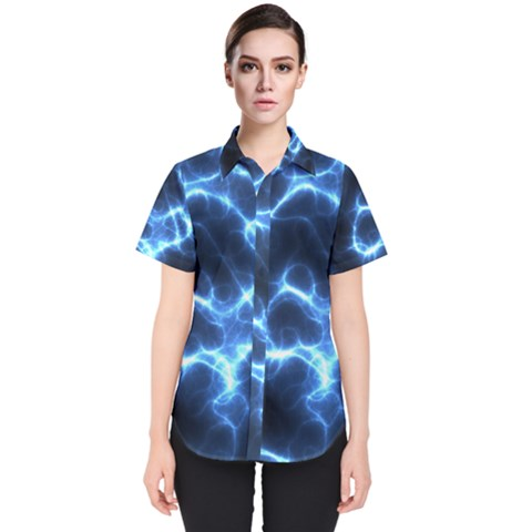 Electricity Blue Brightness Women s Short Sleeve Shirt by HermanTelo