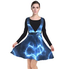 Electricity Blue Brightness Plunge Pinafore Dress