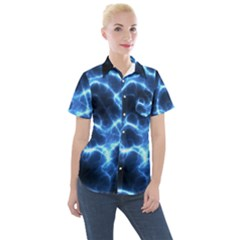 Electricity Blue Brightness Women s Short Sleeve Pocket Shirt