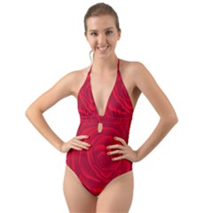 Roses Red Love Halter Cut Out One Piece Swimsuit