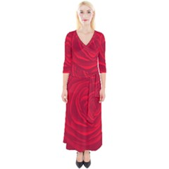 Roses Red Love Quarter Sleeve Wrap Maxi Dress by HermanTelo