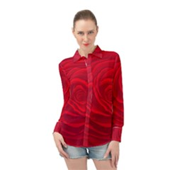 Roses Red Love Long Sleeve Chiffon Shirt by HermanTelo
