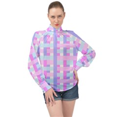 Gingham Nurserybaby High Neck Long Sleeve Chiffon Top by HermanTelo