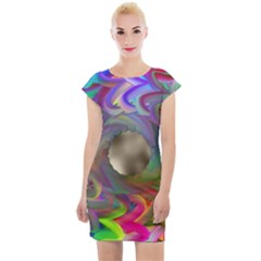 Rainbow Plasma Neon Cap Sleeve Bodycon Dress by HermanTelo