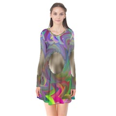 Rainbow Plasma Neon Long Sleeve V Neck Flare Dress by HermanTelo