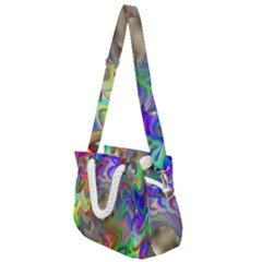 Rainbow Plasma Neon Rope Handles Shoulder Strap Bag by HermanTelo