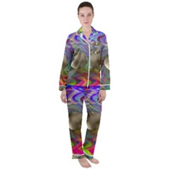 Rainbow Plasma Neon Satin Long Sleeve Pyjamas Set by HermanTelo
